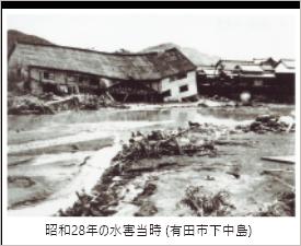 昭和28年の水害当時 (有田市下中島)